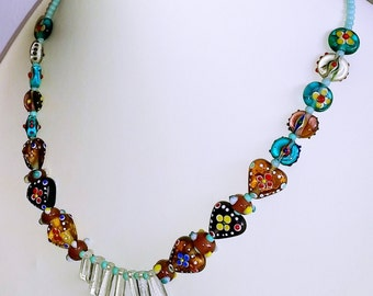"Art Glass Fan Necklace: beaded folklore festival 20"" necklace - vintage lampwork bumpy glass & vintage Japanese beads. Switzerland, Austria"