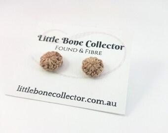 Copper Brown crochet button earrings, Surgical steel studs - Glue free