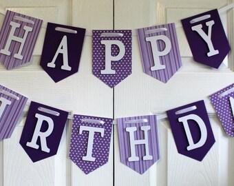 Purple Happy Birthday Banner, High Chair Banner, One Banner