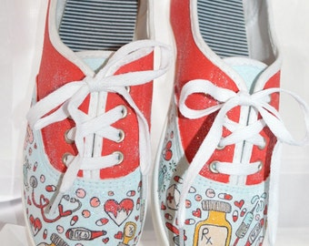 Hand painted nursing health canvas shoes