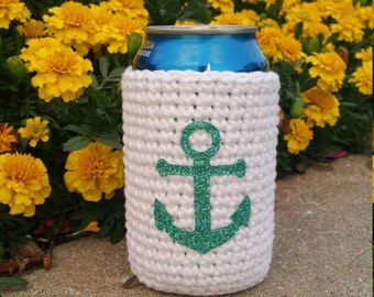 White Can Cozy with Mint Glitter Anchor