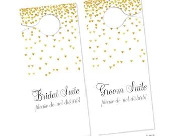 2qty Bridal Suite Sign & Groom Suite Sign- Bridal Dressing Room Sign- Wedding Door Hanger- Do Not Disturb Wedding Sign- Wedding Hotel Door