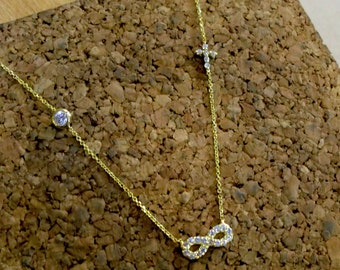 Infinity gold 14k,Cross gold 14k,White zirconia,Gold 14k necklace,Chain handmade,Gift for her,Valentines day,Elegant necklace,Ready to ship