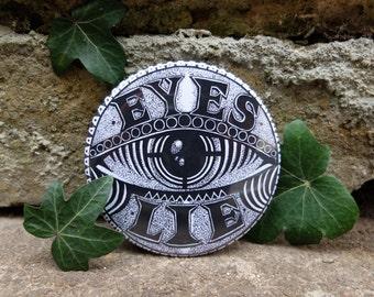 Eye Illustrated Pocket Mirror 'Eyes Lie'