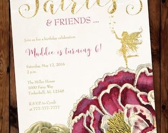 Fairies Birthday Invitation, Fairies and Friends Birthday Invitation, Fairy Birthday Invitation #001