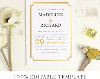 Printable Wedding Invitation Template, Word or Pages, MAC or PC, Classic Frame, Wedding Instant DOWNLOAD
