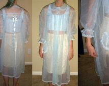 Vintage Sheer Peignoir, Pastel Blue Robe, Peignoir, Pinehurst Lingerie, Sheer Blue Robe, Sheer Peignoir, Vintage 1960s Lingerie, Size Medium