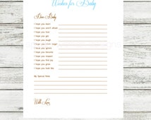 Instant Download Printable Baby Wishes, Baby Shower Keepsake, Blue, Pink, Green, Baby Shower Wishes