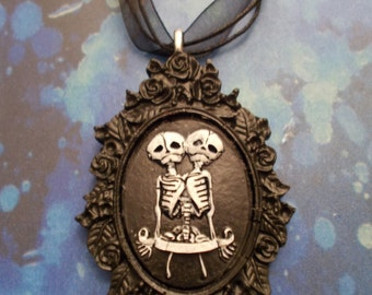 Conjoined Twin Skeleton Cameo Necklace
