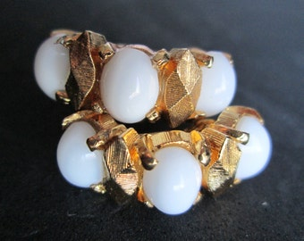 Vintage Signed D'Orlan Earrings Milk Glass Oval Cabochon Gold Tone Clip On Semi Hoop Opaque White