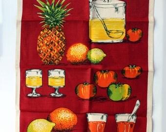 Vintage Linen Tea Towel , Burgundy Linen Dish Towel , NOS Vintage Kitchen Towel , Retro Towel , Fruit And Beverages , Housewarming gift