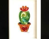 Cactus,Framed Cactus Art, Cactus Plant, Quilled Paper Art.
