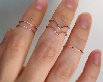Rose Gold Knuckle Chevron Ring Set, 5 Knuckle rings, Rose gold ring, Midi rings, Knuckle ring, Midi ring set, Stackable rings, Chevron ring