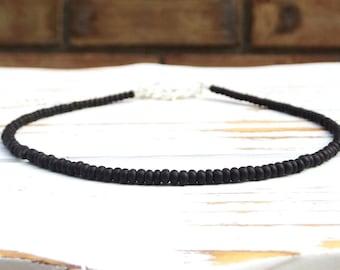 Black beaded choker necklace black beaded necklace handmade seed bead chocker adjustable black choker for womens choker dainty jewelry gift