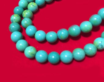 4-12mm Natural Turquoise Round Beads, Semi Precious Beads Green Blue, Natural Gemstone Wholesale Turquoise Beads.SKU#94