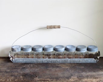 Upcycled Vintage Chick Feeder and Jelly Jars Organizer