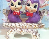 FREE SHIPPING Very RARE Vintage Purple Mice Couple on A Bench Salt and Pepper Shakers Complete Set Lipper and Mann Antique Collectibles