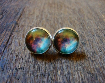 galaxy stud earrings (multi color) | space, astrology, stars, science, NASA, gift for her, posts