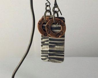 Sterling Silver Earrings Copper Earrings Mixed Metal Earrings Handstamped Metalwork Made to Order