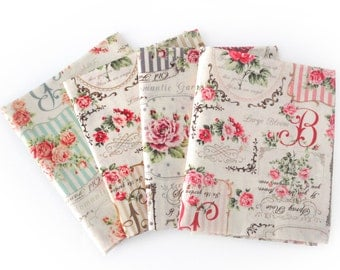 Quilting Japanese Cotton Fabric, Quilt Gate Rose Bouquet - Ruru Rose Frame - pick any 2 half yards or fat quarter bundle of 4