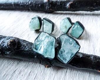 SEMI-ANNUAL SALE Raw aquamarine ring   Multistone ring   Aquamarine crystal ring   Birthstone ring   Adjustable ring   Boho Ring   Brazilian
