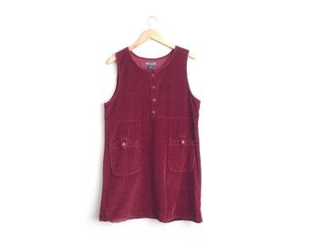 Size M/L // CORDUROY POCKET JUMPER // Maroon - Sleeveless - Babydoll Mini Dress - Vintage '90s.