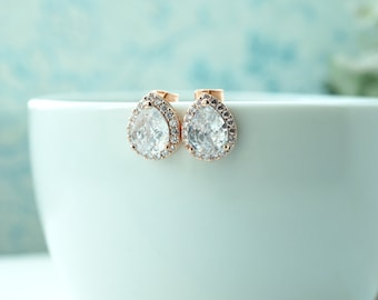 Rose Gold Cubic Zirconia Studs, Rose Gold Wedding Studs, LUX Cubic Zirconia Pear Ear Post Studs, Bridesmaids Gifts, 925 sterling Silver Post