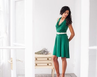 Prom green dress, wrap dress, prom dress, green long sleeve wrap dress, green wrap dress, green short dress, green dress, halter green dress