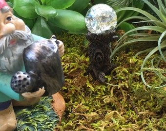 Miniature Crystal Garden Glazing Ball on Tree Stump,  Fairy Garden Accessory, Garden Decor, Miniature Gardening, Terrarium Accessory
