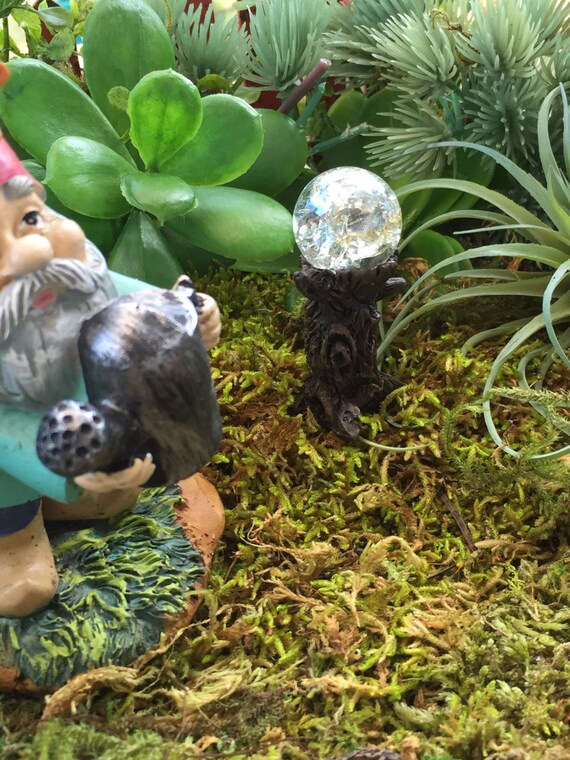 Miniature Crystal Garden Glazing Ball On Tree Stump Fairy
