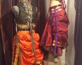 Orange or burgundy silk  Sari bustle, one size,  steampunk, victorian, bellydance