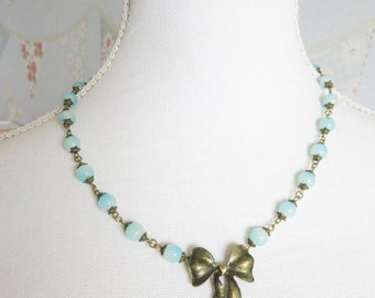 Blue necklace, blue beaded necklace, bow necklace, for her, romantic jewelry, bronze vintage style jewelry