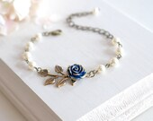 Navy Blue Wedding Bridal Bracelet Dark Blue Rose Flower Brass Leaf Branch Beaded Cream Ivory Pearl Bracelet Flower Girl Bridesmaid Bracelet