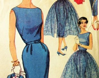 Vintage Simplicity 2370 Sewing Pattern, 1950s Dress Pattern, Sheath Dress, Overskirt Pattern, Bust 33, 1950s Sewing Pattern, Bolero Jacket