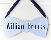 Boy Baby Name Sign for Nursery, Bow Tie Baby Shower Decor, Baby Gender Reveal, Hospital Door Hanger, Baby Announcement, Shower Decorations