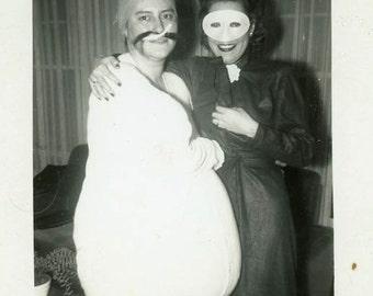 "Vintage Photo ""Halloween Night"" Mask Funny Costume Snapshot Photo Antique Black & White Photograph Found Paper Ephemera Vernacular - 153"