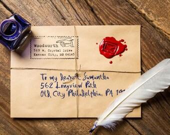 Custom Address Stamp, Self Ink Return Address Stamp, Custom Address Stamps, Wood Mounted Stamps, Typewriter, Vintage, Pointing Hand Stamp