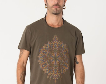 Graphic Tee, Men Mandala Shirt Olive, Psychedelic Shirt, Yoga Shirt, Festival Wear, Burning Man Clothing, Mens T-shirts