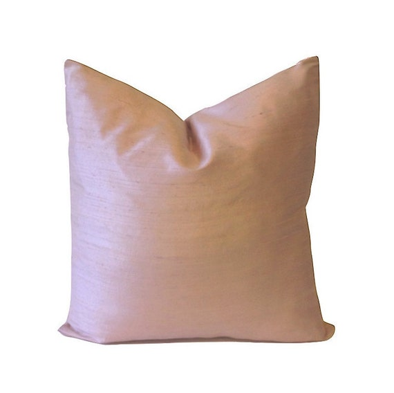 Light Pink Silk Dupioni - Decorative Pillow Cover -5 COLOR CHOICES -Invisible Zipper Closure- Knife Or Pipping Edge
