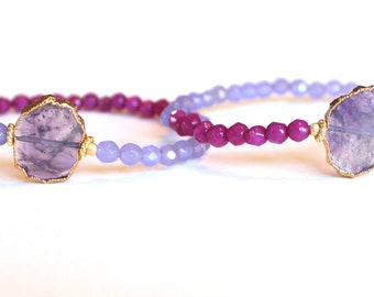 AMETHYST & Jade tiny mala bracelet