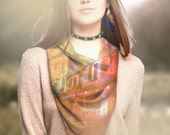 silk scarf Bohemian Silk Scarves boho scarf head digital print boho scarf Italy Italian rainbow cityscape Venice orange green silk scarf geo
