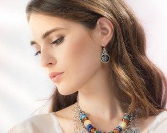 Blue Aqua Chalcedony Earrings Silver & Gold , Gemstone Earrings, Drop Earrings Statement jewelry