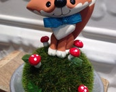 Woodland Fox with Mushrooms Cake Topper - Birthday or baby shower cake topper- Animal cake topper - birthday celebration
