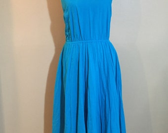 Amazing full skirt turquoise cotton sundress with tie back and pockets