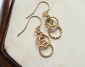 Gold Hoop Earrings - Simple Minimalist Matte Gold Textured Earrings