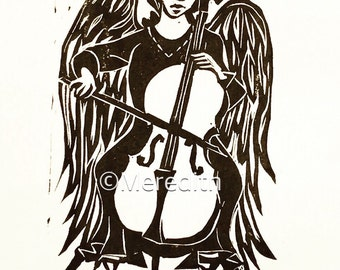 Cello Angel - Original Linocut Print 7.5 x 12""