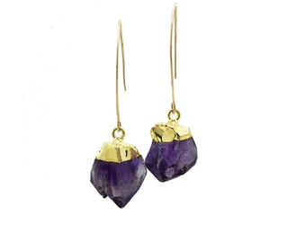 Raw Amethyst Earrings, Raw Gemstone Earrings, Amethyst Dangle Earrings, Amethyst Drop Earrings, February Birthstone