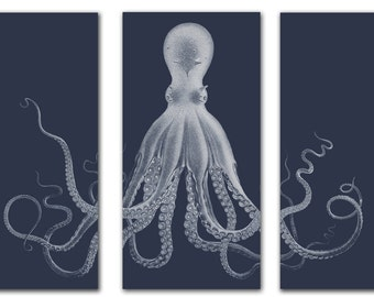 Octopus Triptych, Navy Blue Octopus Print, Nautical Wall Art, Lord Bodner Octopus, Kraken, Coastal Wall Art, Beach Decor, Octopus Art