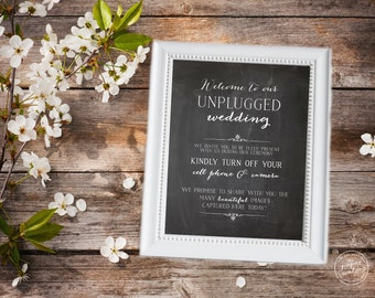 Chalkboard Unplugged Wedding Sign, Chalkboard Print, Instant Printable Download, Rustic Wedding Sign
