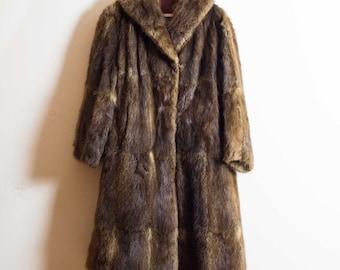 Vintage Fur Coat | Long Brown Fur Coat | UK14